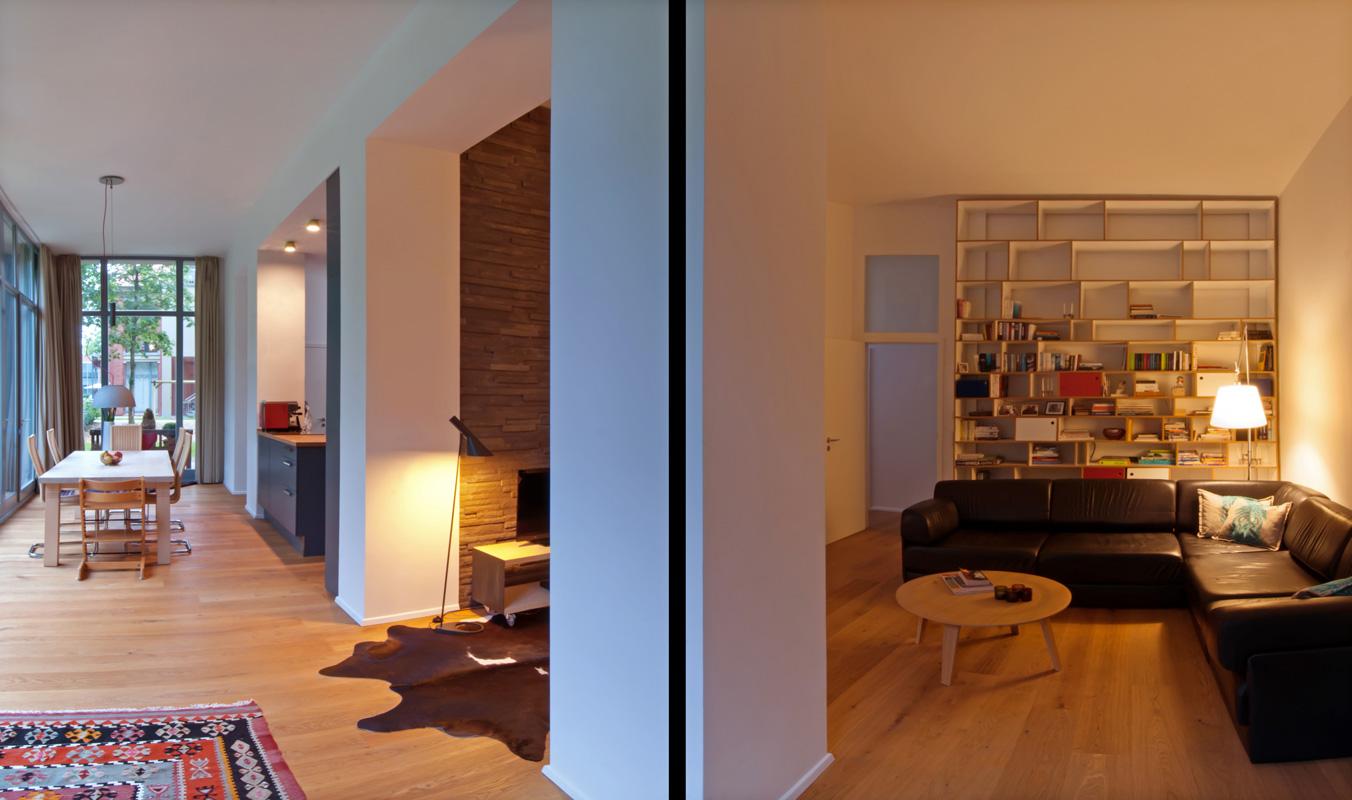 Innenraum Sitzplatz in der Wohnung im Denkmal von Roik Architekt Hamburg.