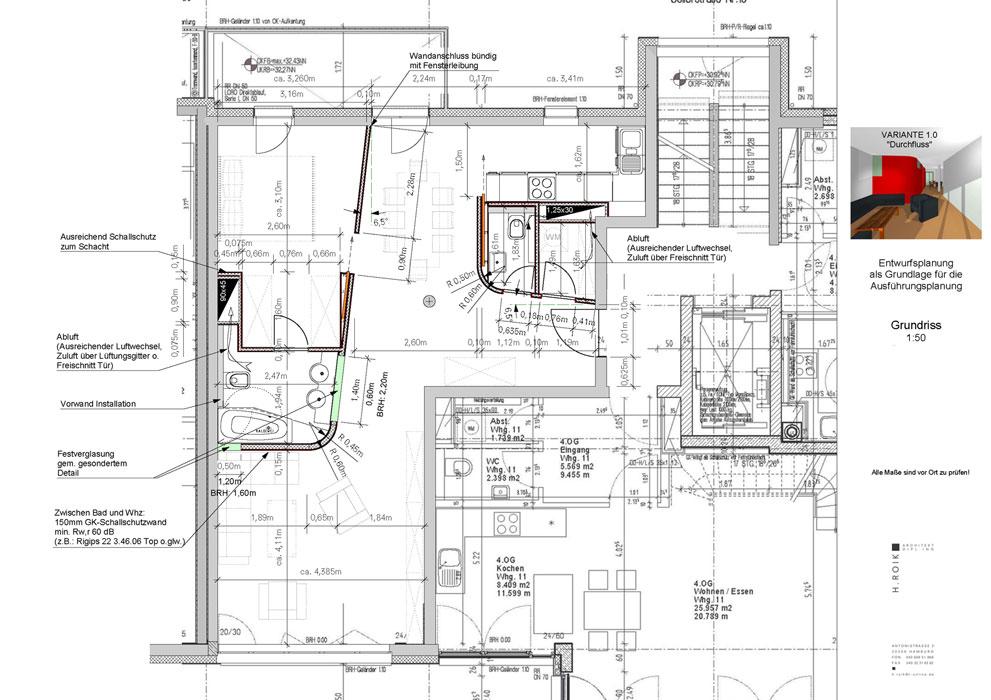 Grundriss Eigentumswohnung von Roik Architekt Hamburg