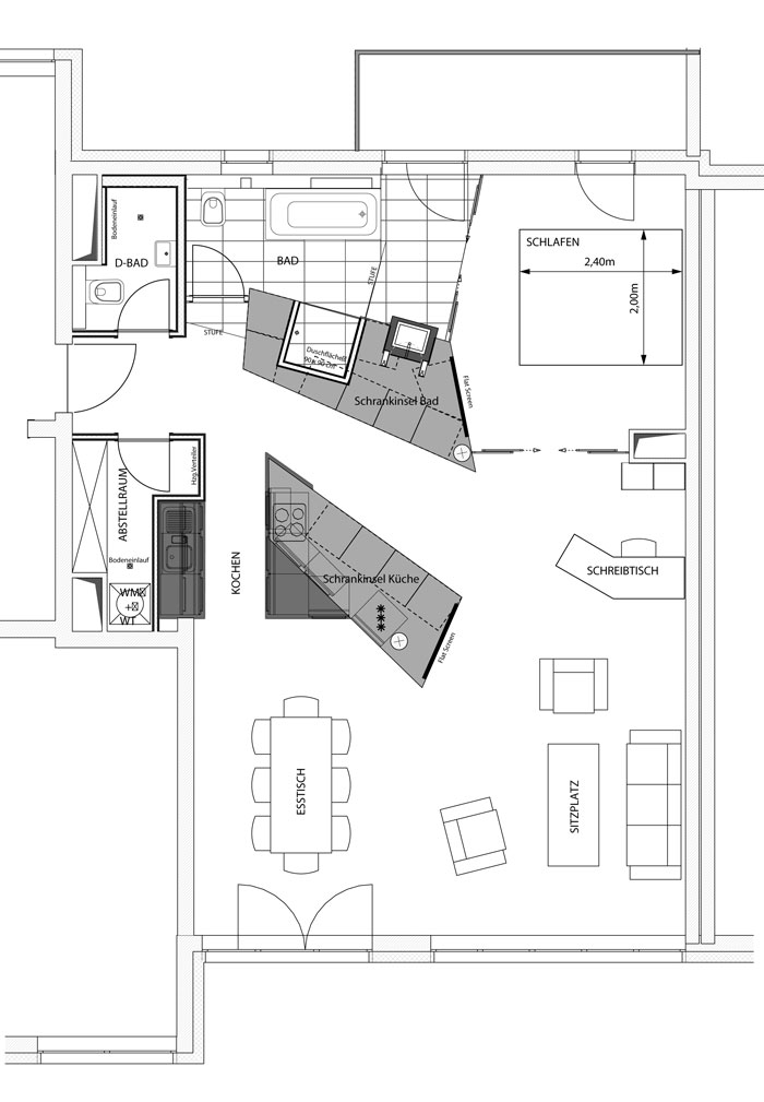 Grundriss Konzept Loftwohnung von Roik Architekt Hamburg.