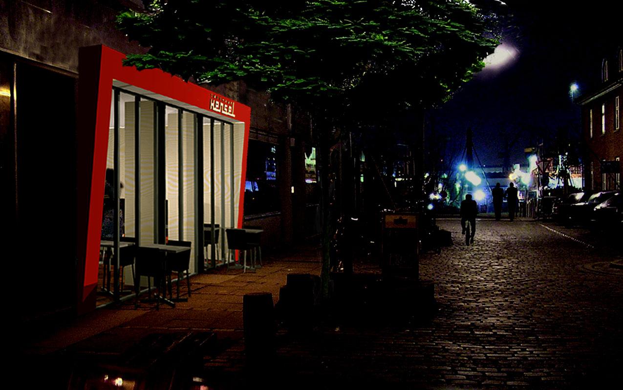 Straßenflucht mit Bar bei Nacht von Roik Architekt Hamburg
