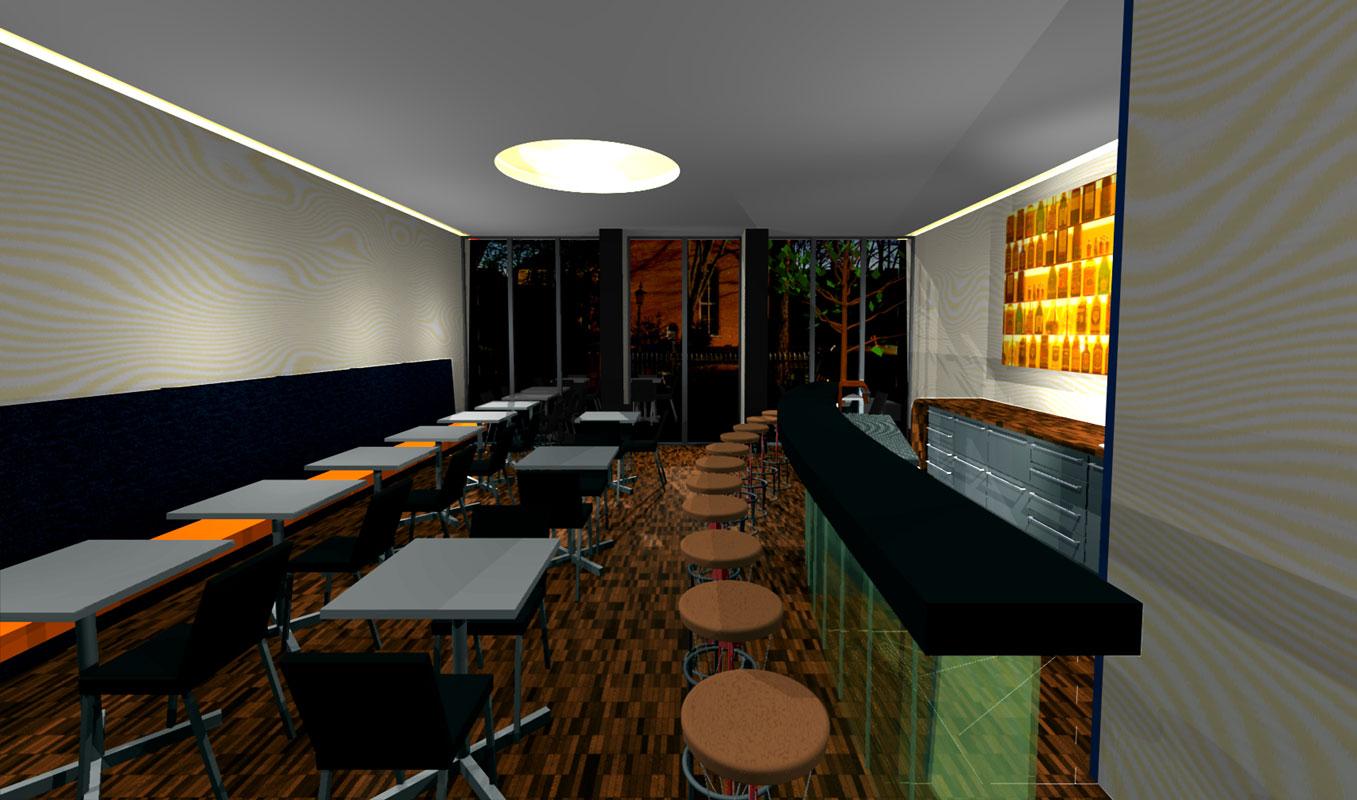 Ausblick mit Innenraum aus einer Bar von Roik Architekt Hamburg