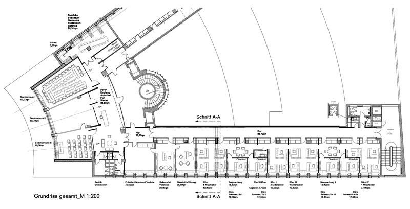 Grundriss Wettbewerb Architektenkammer Berlin von Roik Architekt Hamburg