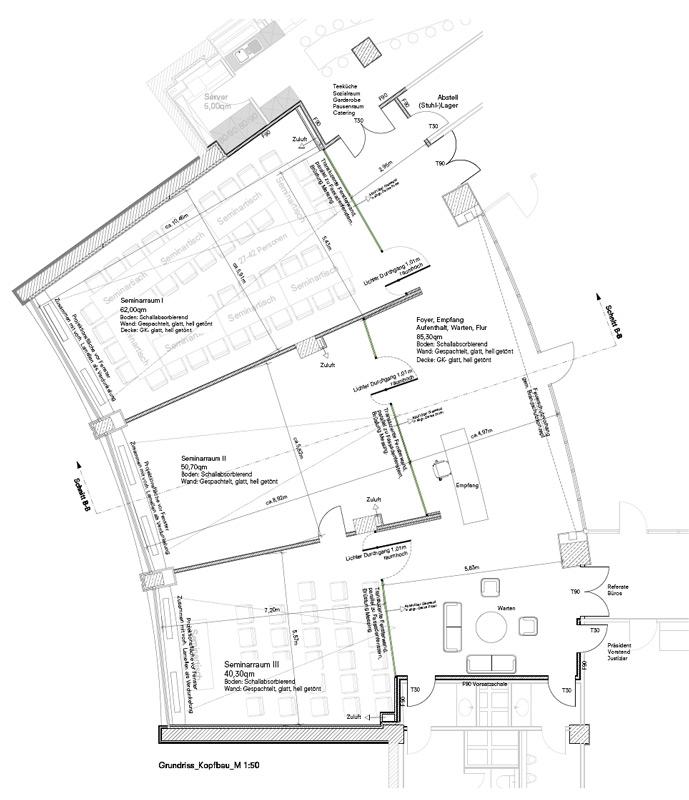 Seminarräume und Foyer Wettbewerb Architektenkammer Berlin von Roik Architekt Hamburg