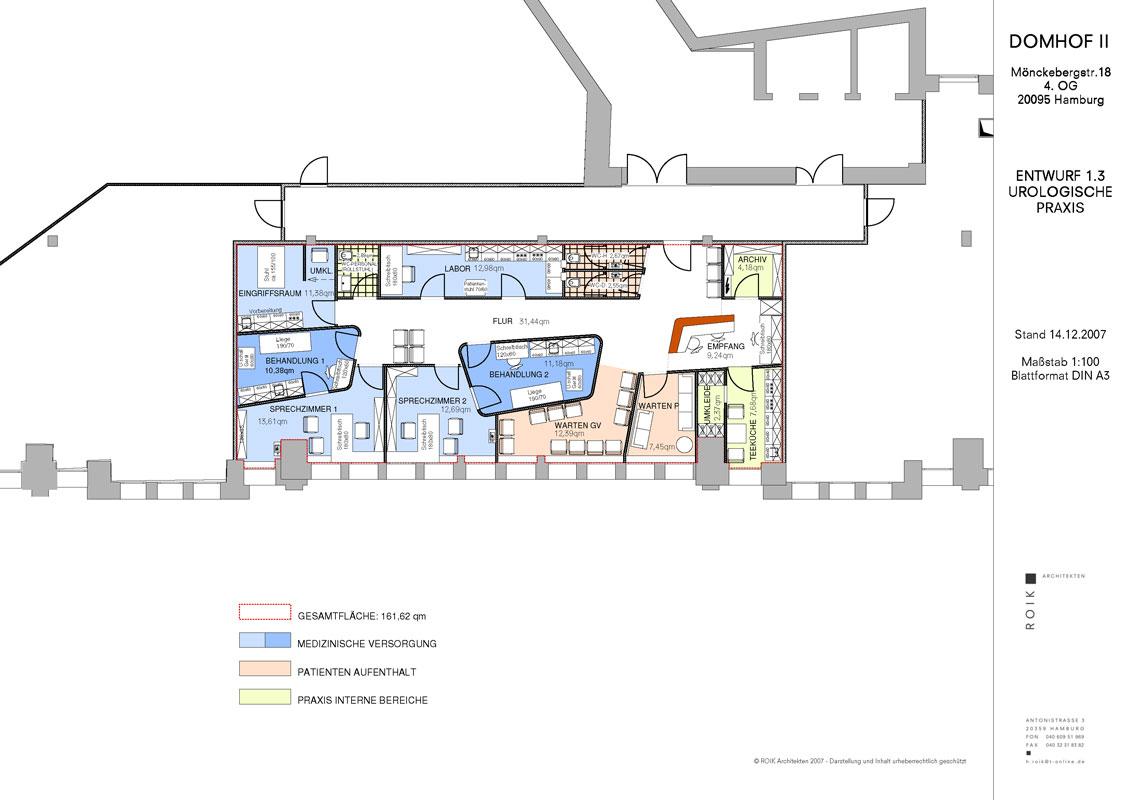 Grundriss Arztpraxis von Roik Architekt Hamburg
