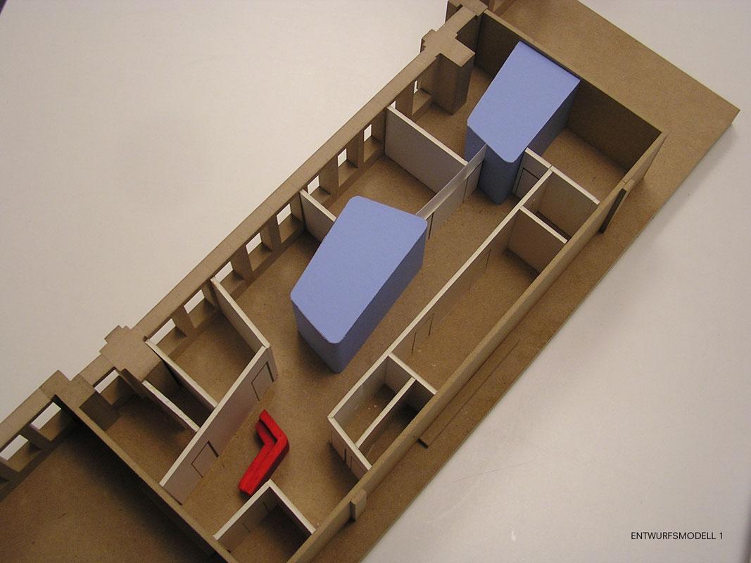 Erstes Entwurfsmodell der Arztpraxis von Roik Architekt Hamburg