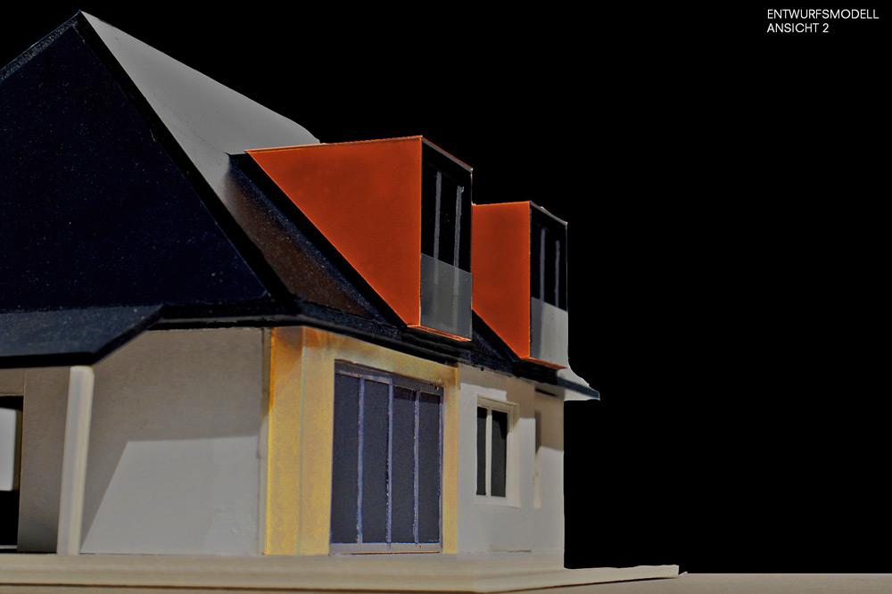 Entwurfsmodell Einfamilienhaus von Roik Architekt Hamburg.