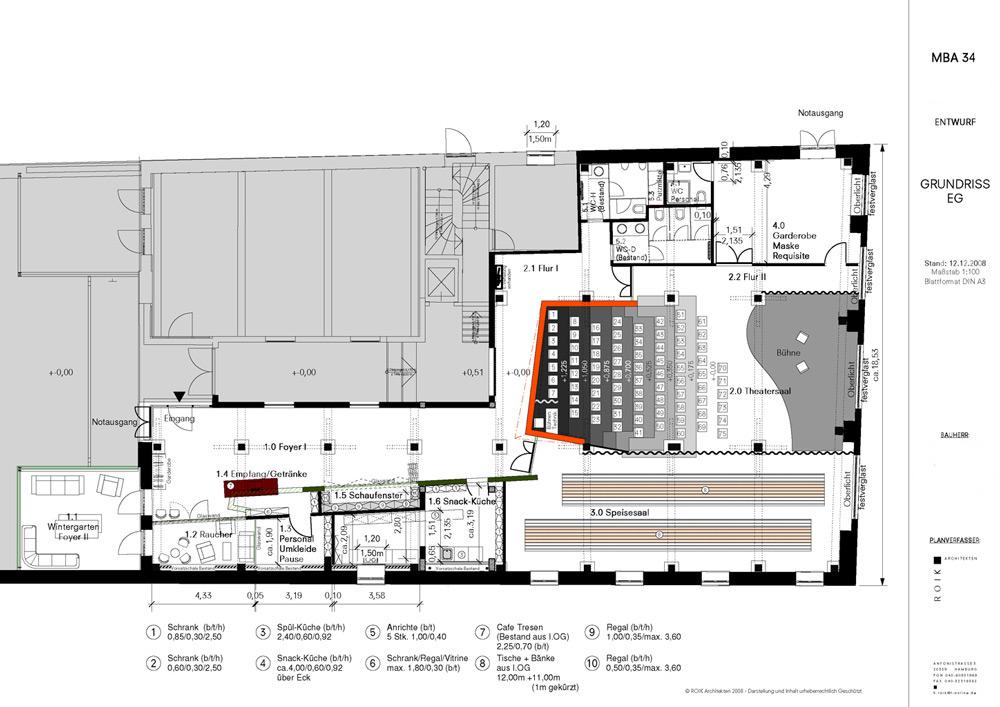 Grundrisszeichnung Konzepttheater von Roik Architekt Hamburg