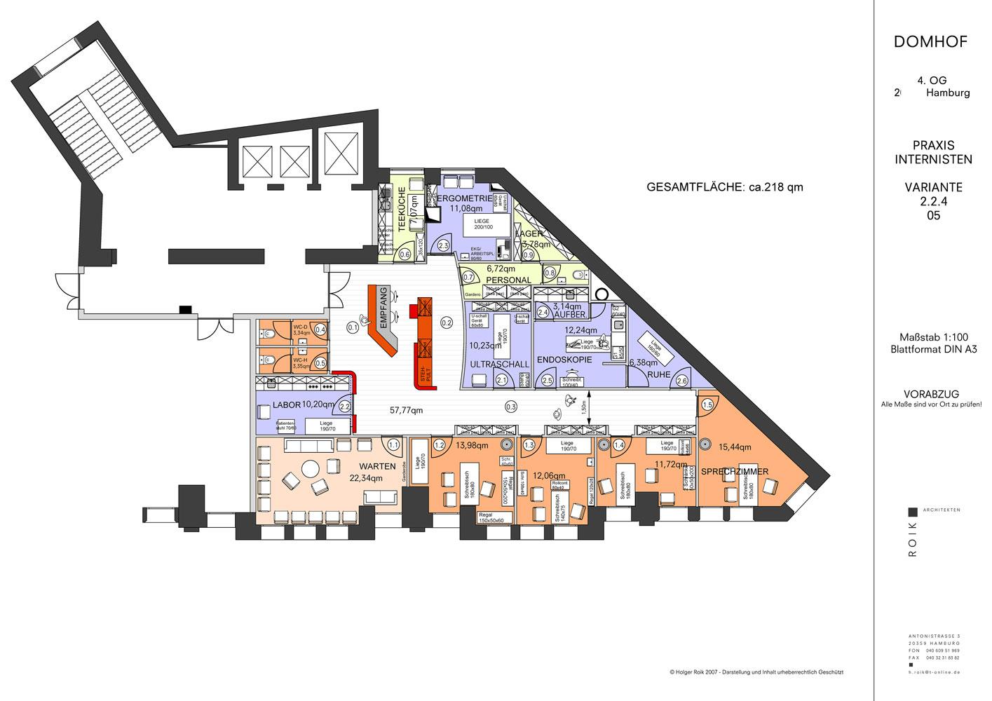 Grundriss mit Funktionsbereichen Arztpraxis Roik Architekt Hamburg