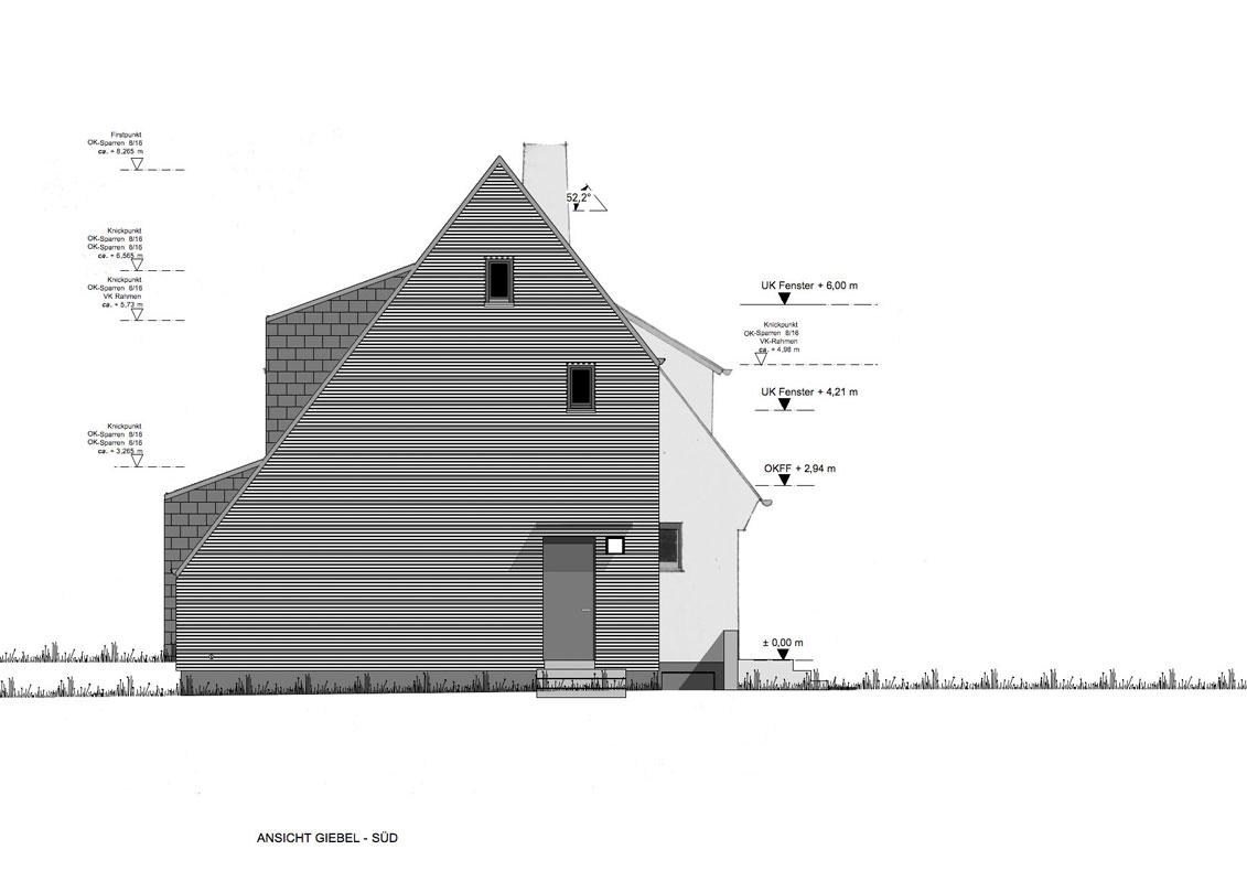 Zeichnung Ansicht Giebel von Roik Architekt Hamburg