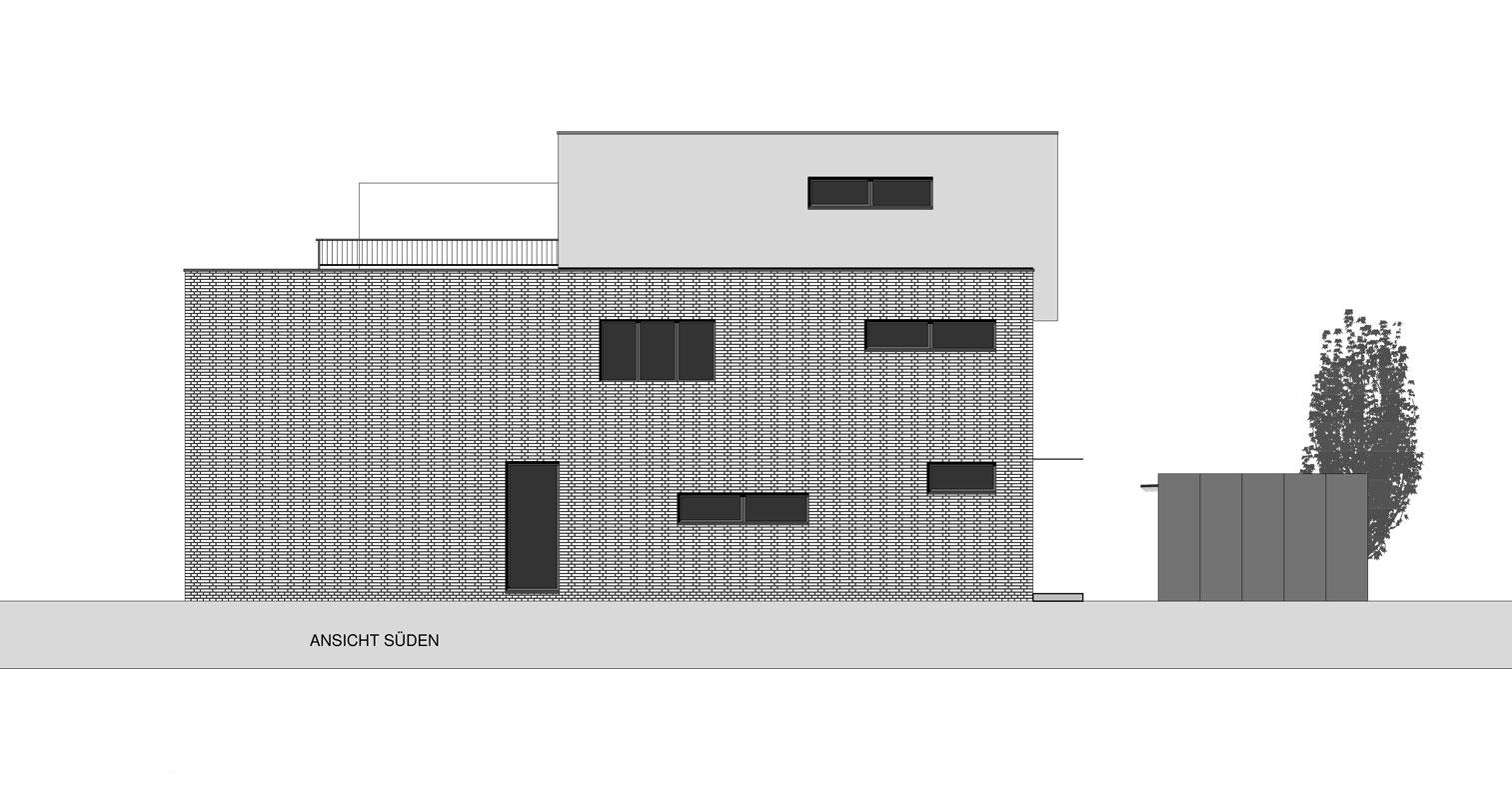 Zeichnung Längsseite Doppelhaus Roik Architekt Hamburg