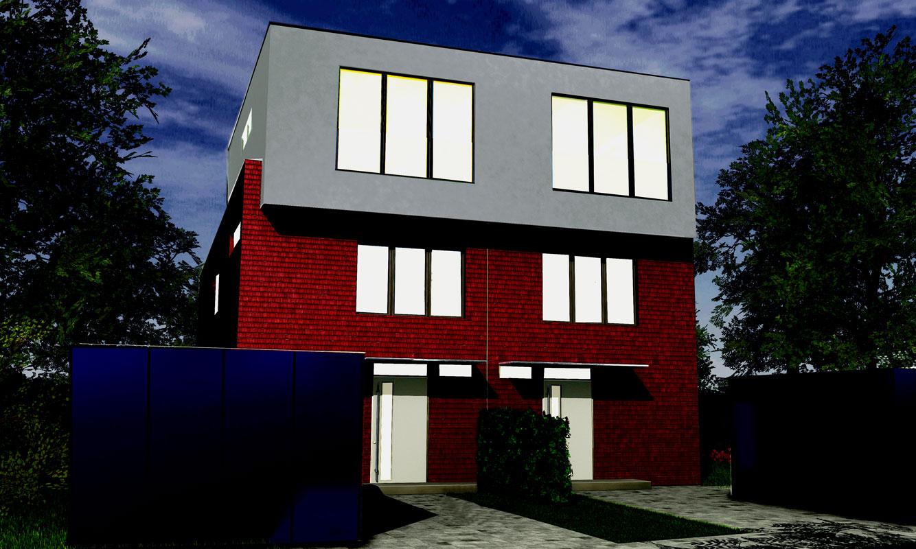 Eingangabereiche Doppelhaus von Roik Architekt Hamburg