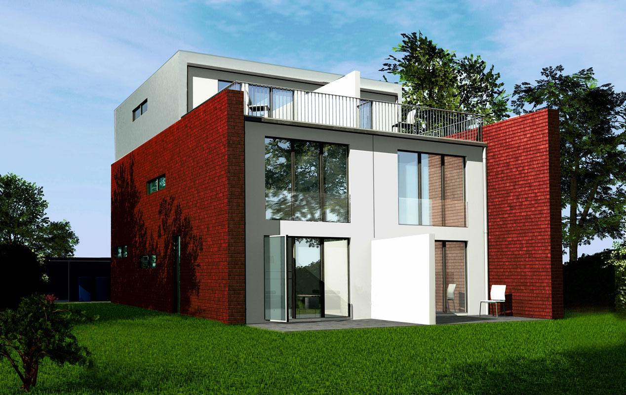 Gartenseite Doppelhaus von Roik Architekt Hamburg