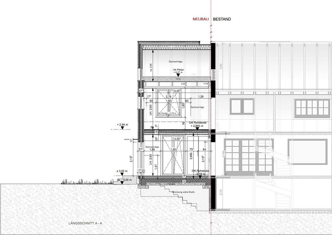 Zeichnung Längsscnitt von Roik Architekt Hamburg