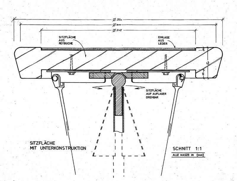 Detail Auflager Sitzfläche Barhockers von Roik Architekt Hamburg