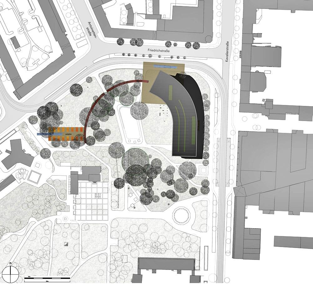 Lageplan mit Anbindung an Perkplatz für ein Museum in Dessau von Roik Architekt Hamburg.