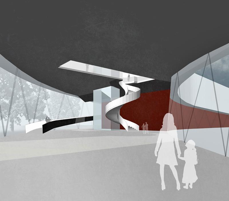 Ideenskizze als Innenraumperspektive mit Erschliessungselementen für ein Museum von Roik Architekt Hamburg.