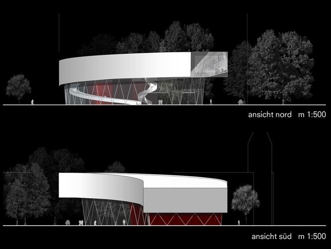 Ansichten Nord und Süd für ein Museum von Roik Architekt Hamburg
