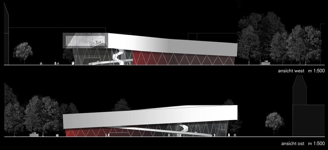 Ansichten West und Ost für ein Museum von Roik Architekt Hamburg