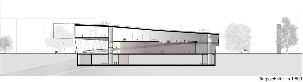 Längsschnitt für ein Museum in Dessau von Roik Architekt Hamburg